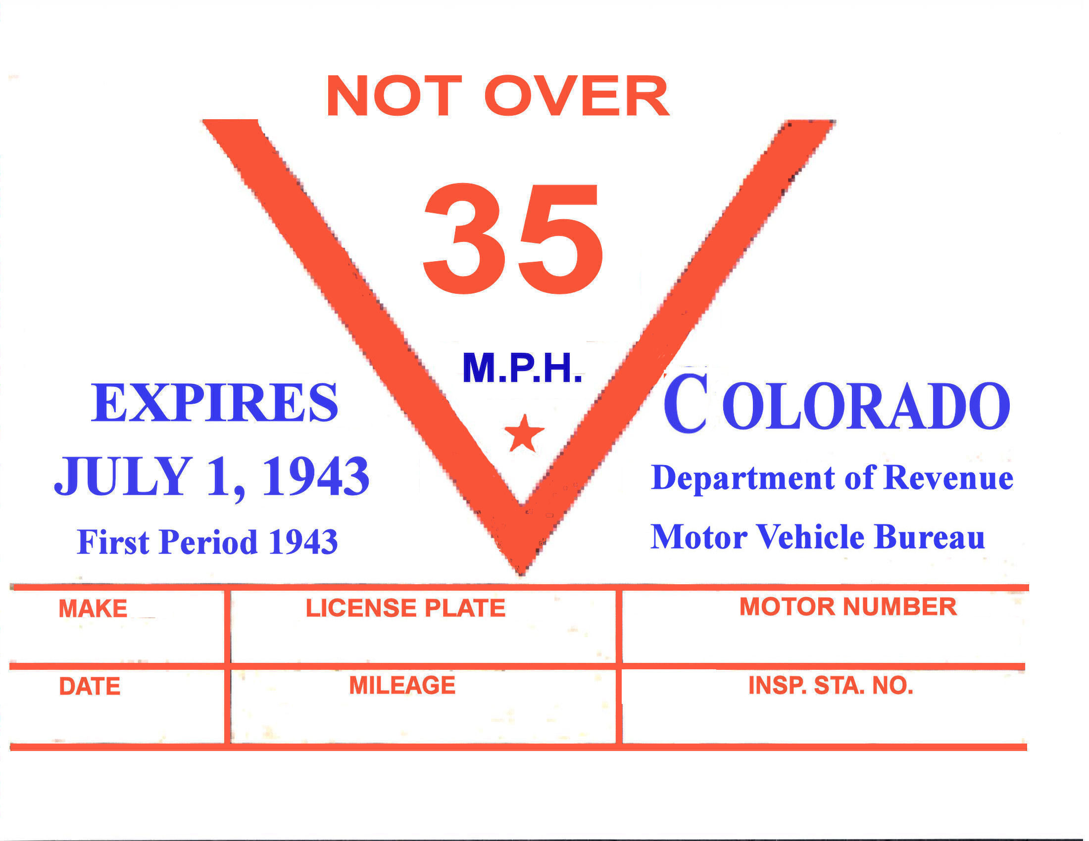 1943 Colorado Inspection Sticker 1st Period